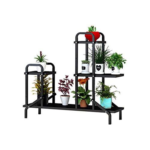 DZW Grilles De Stockage supports Fer art fleur étagères multicouche intérieur voyante balcon grilles salon pot de fleurs rack Plant rack, 100 * 28 * 88 cm , a black,Simple