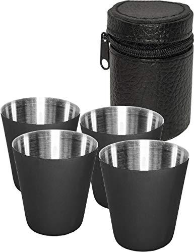 Outdoor Saxx® - 5-teiliges Edelstahl Trinkbecher Set, 4 Schnaps-Becher mit Ledertasche, Tolle Geschenk-Idee, schwarz (Schnaps-korb-ideen)