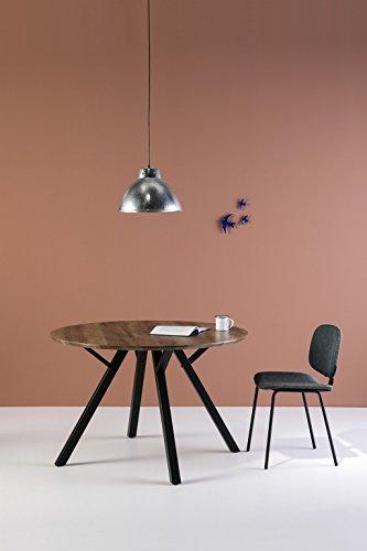 ambiato Esstisch Livi Rund 120cm Schwarzstahl + Eiche Dunkel Vintage Küchentisch Konferenztisch Büro Tisch -
