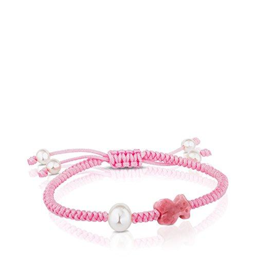 Imagen de tous pulsera de mujer ajustable en cuerda y ónix, color rosa, perlas cultivadas.