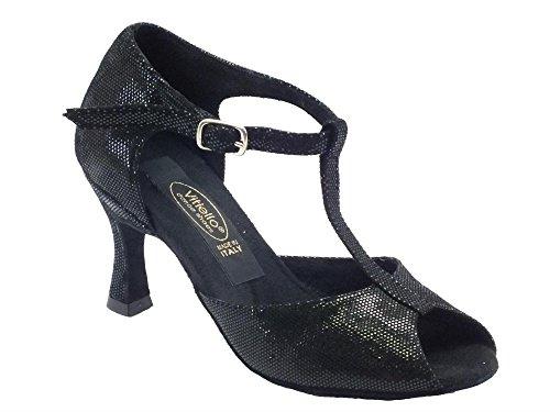 Scarpe da ballo donna latino in satinato nero con tacco 70N (Taglia 37)