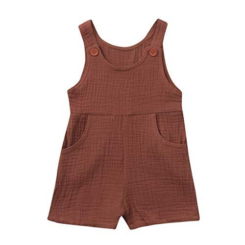 JUTOO Sommer Kleinkind Neugeborenen Kinder Baby Jungen Mädchen Einfarbig Spielanzug Overall Kleidung (Kaffee 1,80) (Kleinkind Elvis Kostüme)