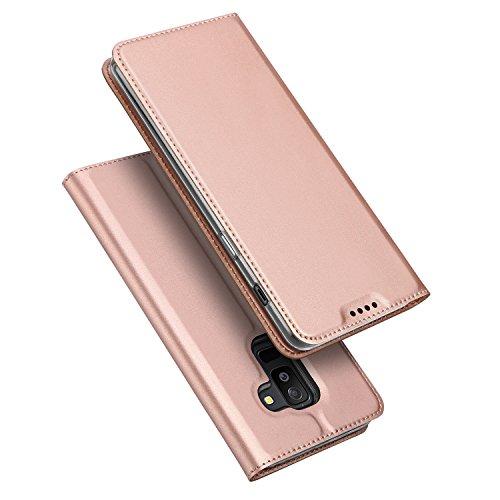 DUX DUCIS Galaxy A6 Plus 2018 Hülle,Flip Folio Handyhülle [Standfunktion] [1 Kartenfach] [Magnet] [Anti-Rutsch] Ultra Dünn Ledertasche Schutzhülle Cover für Samsung Galaxy A6 Plus (Rose Golden)