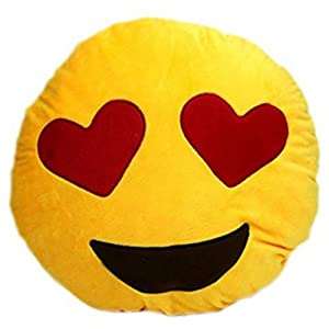LinTimes Soft Emoji Smiley Emoticon Yellow Round Cushion Pillow