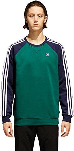 Adidas-baumwolle-uniform (Adidas Skateboarding Herren Sweatshirt UNIFORM CREW , Größe:XL, Farben:cgreen/nindig/white)