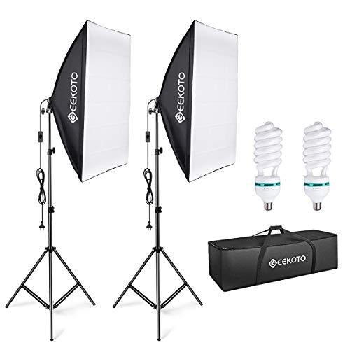 GEEKOTO Softbox Set Fotostudio 50 x 70cm, Dauerlicht Studioleuchte Set mit 2 Softboxlampen E27 85W 5500K, 2m Vollverstellbare Lichtstative für...