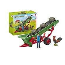 Schleich- Accessoire Bande transporteuse de Foin avec Fermier Farm World, 42377, Multicolore