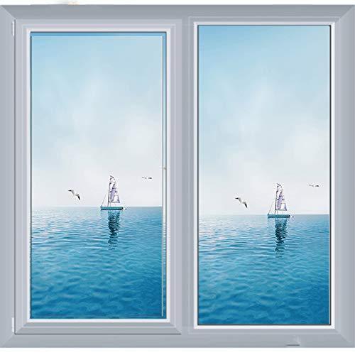 Qiaogth 3D Blue sea Sky Szene Glas-Sticker, Fensterfolien, Badezimmer Toilette Kein leim Statische Glas-Folie, Anti-transparent Entfernbar-B 60x90cm(24x35inch)