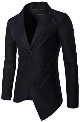 Whatlees Herren fashion design Superenger Blazer Sakko JACKEN mit asymmetrische saum
