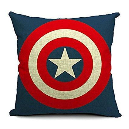 squishybean Marvel escudo del Capitán América de Los Vengadores Printed Cotton Linen manta decorativa Funda de almohada cojín
