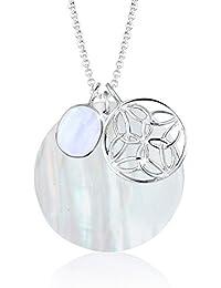 Elli Damen-Halskette Perlmuttscheibe Ornament 925 Silber Achat weiß - 0110710412_70
