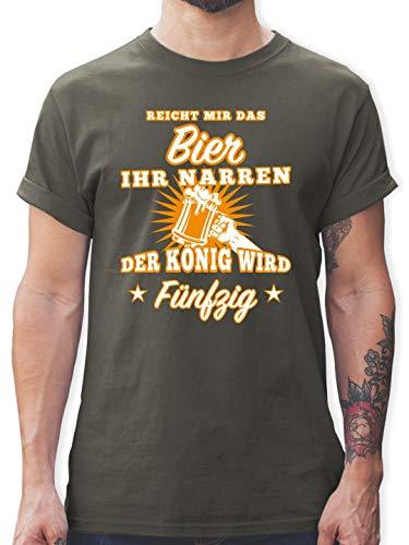 Blonde Lange Ärmel T-shirt (Geburtstag - Reicht Mir das Bier Ihr Narren 50 - XL - Dunkelgrau - L190 - Herren T-Shirt und Männer Tshirt)