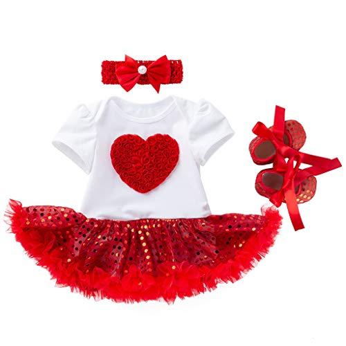 d2f517950 Mitlfuny Bebé Tutú Princesa Vestido Verano Ropa Niñas Recién Nacido Dia de  San Valentin Amor Impresión