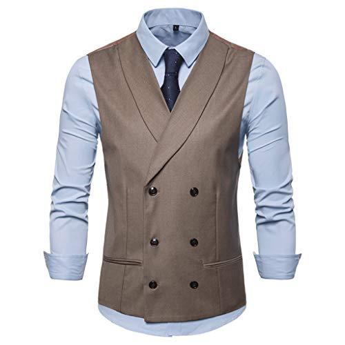 Herren Anzugweste Männer ärmellose Zweireiher Hochzeit Business Anzug Weste Mantel Weste Mode Casual Tops Jacke Coat CICIYONER