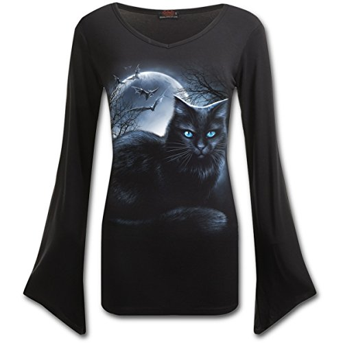 Spiral Direct Damen Mystical Moonlight-V Neck Goth Sleeve Top Black Langarmshirt, Schwarz 001, 34 (Herstellergröße: Small) -