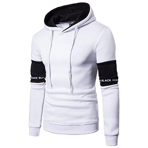 Herren Winter Pullover#JYJM Herren Langarm Brief Hoodie Kapuzen Sweatshirt Top T Outwear Bluse (L, Weiß)