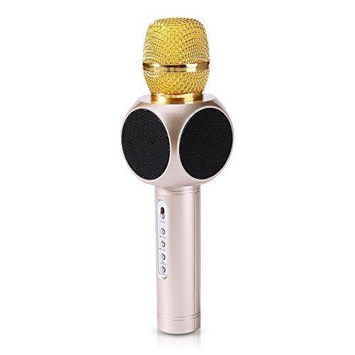 JUDYelc Wireless Mikrofon Karaoke Cool Portable Bluetooth Aluminium Alloy Player Lautsprecher für Apple iPhone Android Smartphone oder PC Home KTV Outdoor Party Musik Spielen Singen jederzeit (Golden)