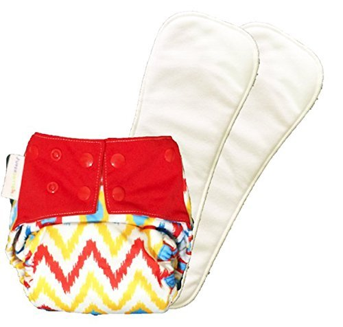SUPER TRIM Superbottoms Reusable Cloth Diaper - Cover Diaper with 2 Dry-Feel soakers (inserts)