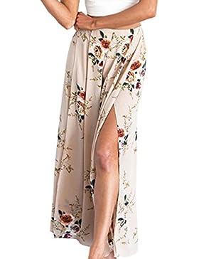 BLACKMYTH Mujer Pierna ancha Estampado Floral Pantalones Suelto Split Gasa Casual Pants
