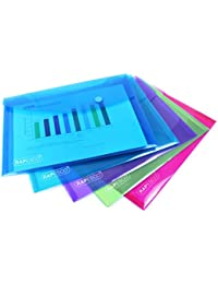Rapesco 0689 Popper Wallet - A5. Assorted Transparent Colours, Pack of 5