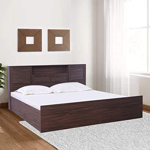 HomeTown Bolton Engineered Wood Box Storage Queen Size Bed (Walnut)