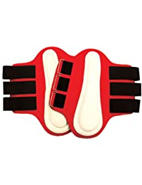 Intrepid International Splint Boots with White Leather Patches, Small, Red