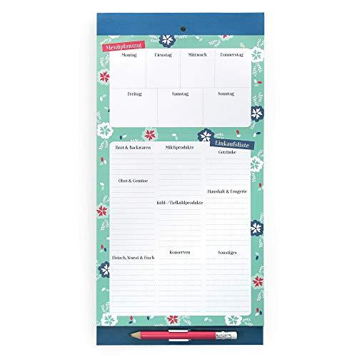 Boxclever Press Magnetischer Einkaufsblock und Menüplaner. Einkaufsliste zum Aufhängen zur wöchentlichen Menüplanung. Einkaufszettel zum Abreißen. Essensplaner für die Woche mit Stift und Tasche