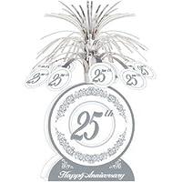 Beistle Feliz 25 Aniversario Boda Plata Centro de Mesa Mesa decoración 33cm Alto