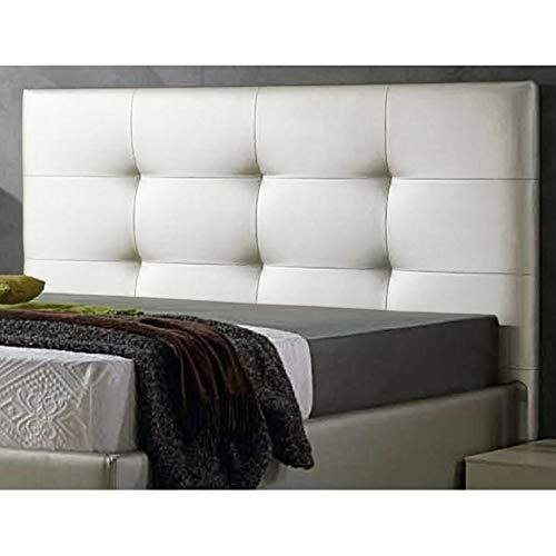 Decorquality Cabecero Texas tapizado Polipiel Primera Calidad con un diseño Moderno y un Toque de Elegancia (Blanco, 135 * 70)