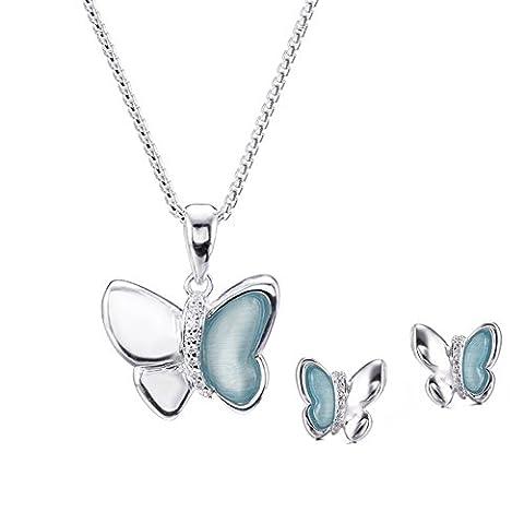 Silverage Sterling Silver Blue Danube Papillon Collier et boucles d'oreilles Ensemble de bijoux