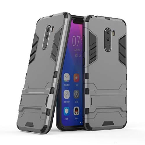 SANHENGMIAO COVER Für Xiaomi Handy Doppeldecker-Panzerabwehrschutz gegen Erdbebenschutz, geeignet für Hirse Pocophone F1 / Poco F1 (Farbe : Grau)