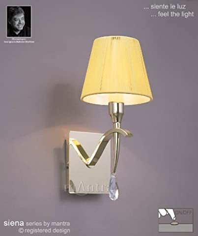 Siena Switched Wall Lamp 1 Light Polished Brass With Amber Silk String Shade And Clear Crystal