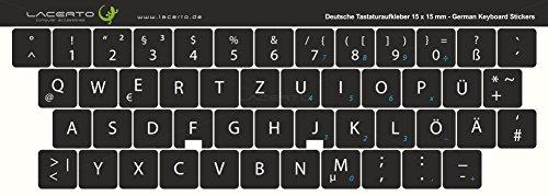 Lacerto 15x15mm Deutsche Tastaturaufkleber für PC & Laptop, mit mattem Schutzlaminat | Farbe: Schwarz