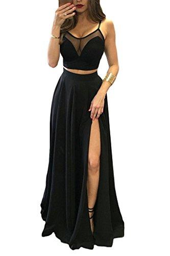 Damen Sexy Schwarze Zweiteilige Side Split Spaghetti Strap Lange Abendkleider S14Black-UK8 (Lange Prom Kleider Mit Split)