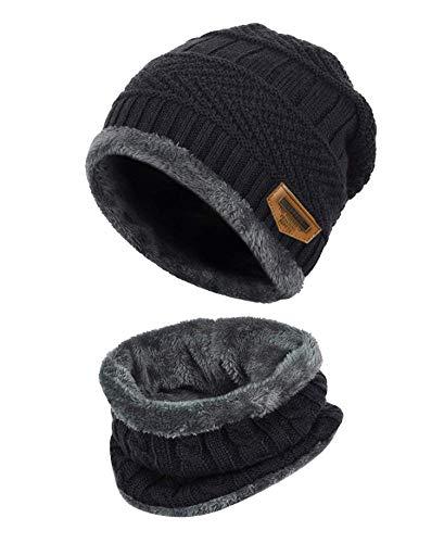 K.tchard Kinder Wintermütze Beanie Hut mit Schal Set Slouchy Strickmütze Warme Knit Skull Cap Fleecefutter Hat