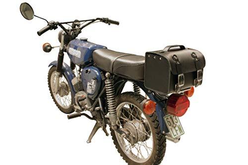 Leder Hecktasche mit Schnellverschluss Gepäckträger Tasche Packtasche Schwarz für Simson S50 S51 S70
