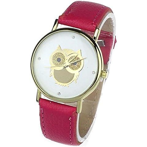 Tongshi Reloj de cuarzo patrón de la moda de las mujeres de la muchacha del búho del oro reloj de pulsera de cuero (Rosa caliente)