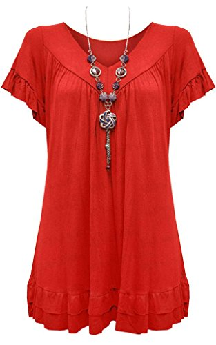 New Ladies Womens Gypsy Frill Hippy Plus Size Necklace Top RED UK SIZE 16-18