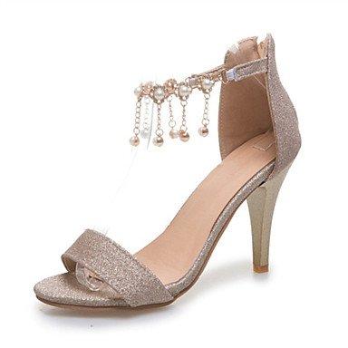 LvYuan Damen-Sandalen-Büro Kleid Party & Festivität-Glanz maßgeschneiderte Werkstoffe-Blockabsatz Stöckelabsatz-Komfort Club-Schuhe-Rot Silber Silver