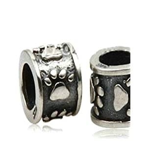 Dogs Stars Zwischenelement mit Pfötchen – Damen Bead – passend für Pandora Schmuck und ähnlichem – 925 100% Sterling Silber