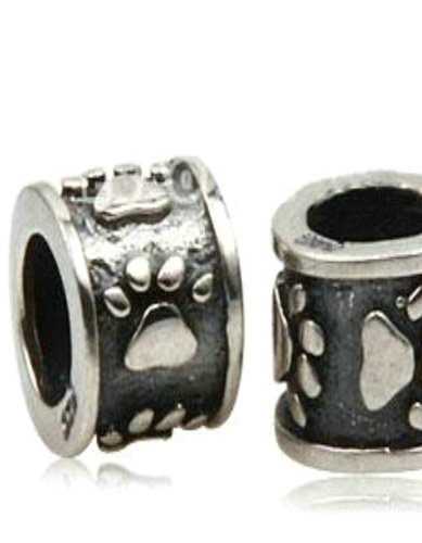 Zwischenelement mit Pfötchen - Damen Bead - passend für Pandora Schmuck und ähnlichem - 925 100% Sterling Silber