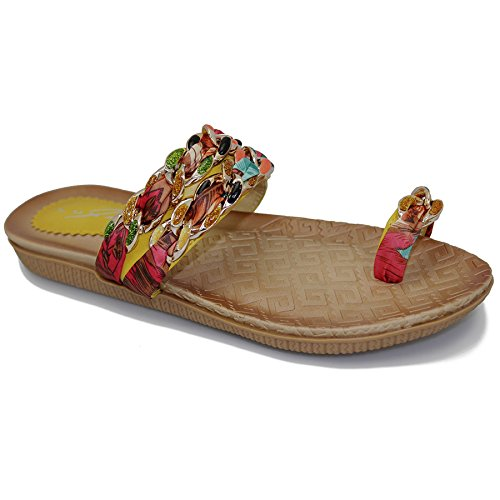 FANTASIA BOUTIQUE Damen Mehrfarben Schleife Kette Band Zehenschlaufe Bequem Sandalen Schuhe Mehrfarbig