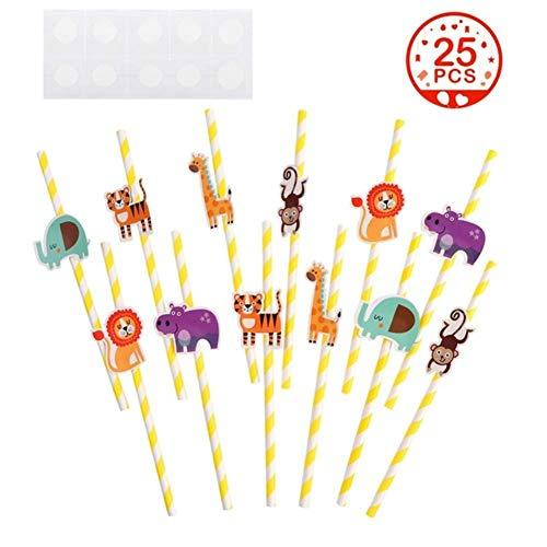 Lot de 25 pailles en papier pour fête prénatale Motif animaux de la jungle jaune