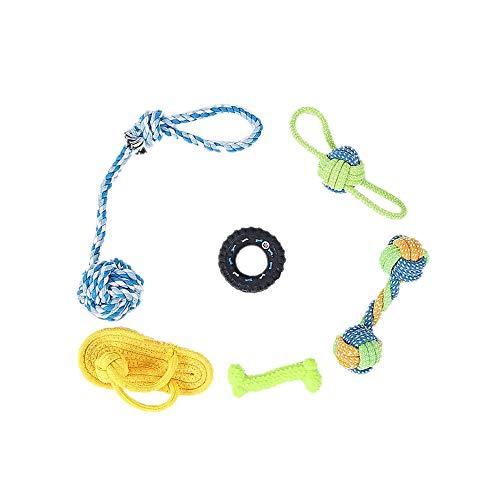 ODJOY-FAN Haustier Weberei Molar Baumwollseil Spielzeug Neu Haustier Hund Spielzeug Baumwolle Seil Spielzeuge Kit Hund Ausbildung Beißen Molar Zähne Sauber Set(F,4 PC) (Hündchen Kostüm Kit)