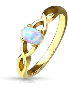 Paula & Fritz® Ring aus Edelstahl Chirurgenstahl 316L vergoldet Wellenmuster mit ovalem Opal verfügbare Ringgrößen...