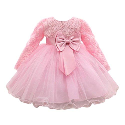 zessin Party Kleider Mädchen Niedlich Hochzeit Kleid Sommer frühling Kinder Langarmshirt Mode Tütü Kleidung, 0-18Monate (12 Monate, Rosa) ()