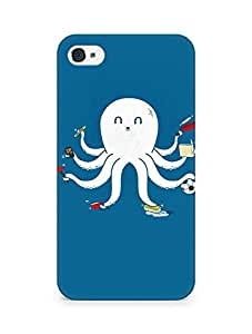 Amez designer printed 3d premium high quality back case cover for Apple iPhone 4s (Funny Octopus)