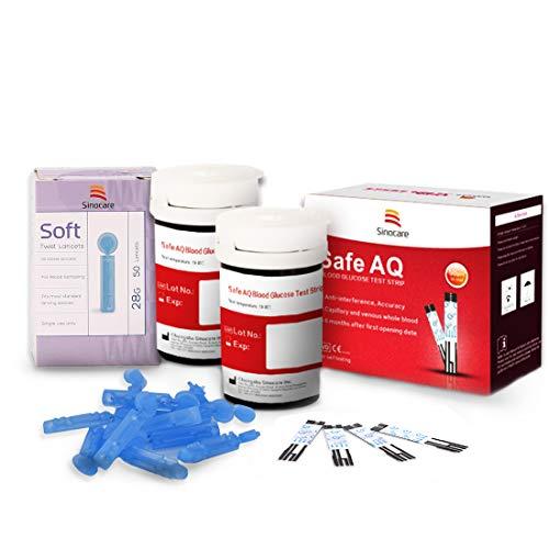 Blutzuckerteststreifen x 50 & Blutzuckertest Lanzetten x 50, Schmerzfrei, Wenig Probenvolumen (0.6μl), Lichtwarnung für Diabetes Diabetiker