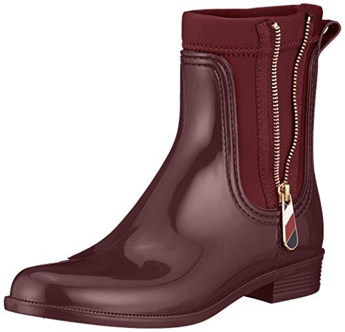 Tommy Hilfiger Damen Material Mix Rain Boot Gummistiefel, Rot (Decadent Chocolate 296), 38 EU