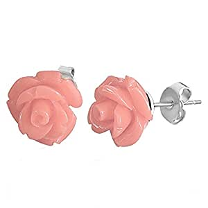 Azzire Stainless 3D Pair of Pink Rose Flower Stud Earrings - Size 11mm